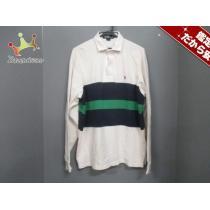 ポロラルフローレン スーパー コピー 長袖ポロシャツM メンズ 白×ネイビー×グリーン-1