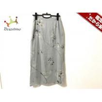 マックスマーラ スーパーコピー ロングスカート40 レディース美品  ライトブルー×ベージュ×マルチ 花柄-1