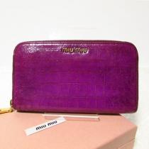 良品◎ ミュウミュウ スーパーコピー 長財布 型押し加工 紫-1