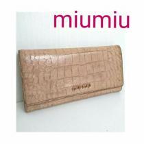 コピー MIUMIU  クロコ レザー 長財布  ピンク ベージュ-1