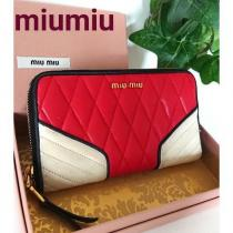 コピー MIUMIU スーパーコピー バイカラー レザー 長財布 赤 レッド 白 アイボリー-1
