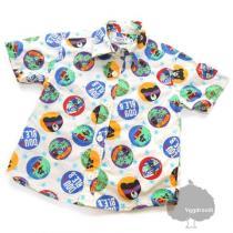 YGG★ミキハウス コピー ダブルビー 総柄 半袖シャツ 90cm オフ白-1