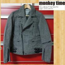 monkey time モンキータイム ウールメルトンライダースジャケット S ユナイテッドアローズ スーパーコピー 美品-1