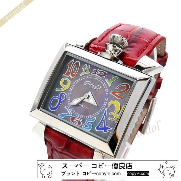 Gaga Milano スーパーコピー ガガミラノ  腕時計 ナポレオーネ NAPOLEONE スクエア ブラックパール×レッド gaga NlhcYASD-3