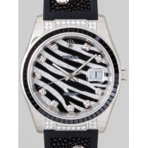 ロレックススーパーコピー ROLEX パーペチュアル デイトジャスト メンズ z116199SANR ゼブラ ダイヤ入りガルーシャ(エイ革)ラバーベルト ロイヤルブラック(ダイヤ・ブラックエナメル)-1