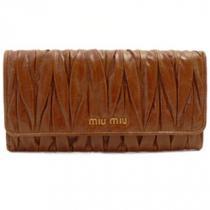 ミュウミュウスーパーコピー MIUMIU 長財布 二つ折りフラップ プリーツレザー/マテラッセ ローズウッドブラウン PALISSANDORO 5M1109 MATELASSE/LUX-1