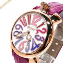 Gaga Milano スーパーコピー ガガミラノ  腕時計 マヌアーレ MANUALE 40mm ホワイト×ピンク gaga iu8kGsRj-1