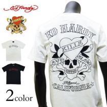 Ed Hardy スーパーコピー(エドハーディー コピー)ラブキル刺繍Tシャツ 白 XL[82kh03]-1